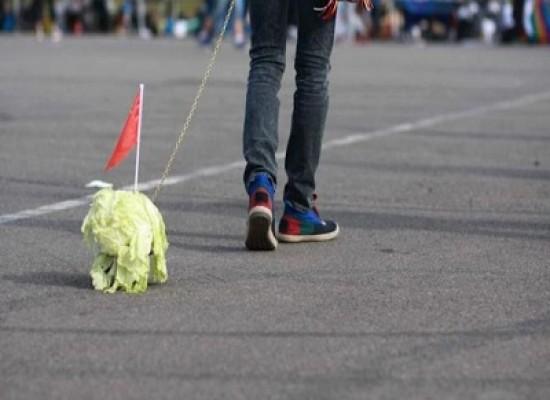 La moda tra gli adolescenti cinesi di portare a passeggio la verdura