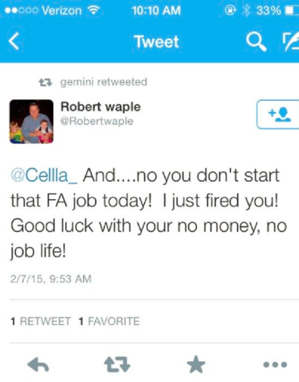 licenziata tramite twitter