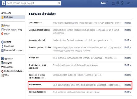 facebook contatto erede defunti
