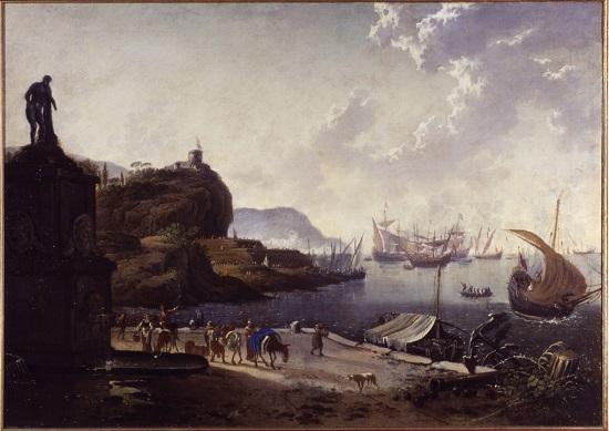 olio su tela Hans de Jode Porto di mare
