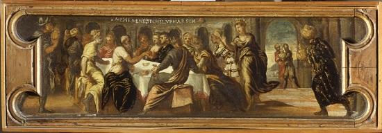 olio su tavola Jacopo Tintoretto Banchetto di Baltassar