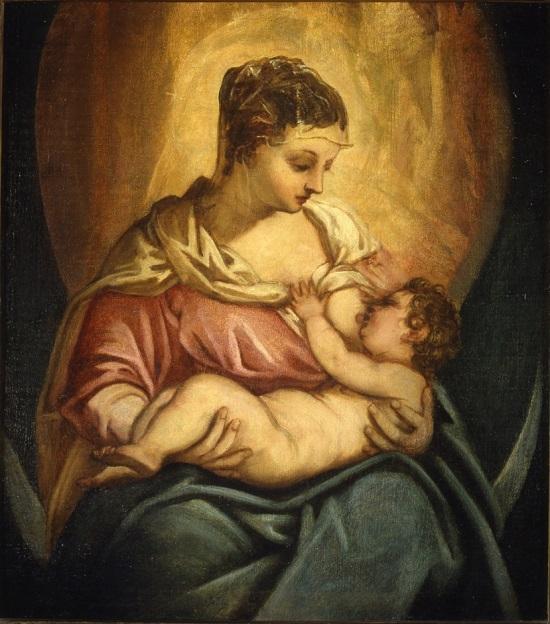 olio su tela Jacopo Tintoretto Madonna allattante