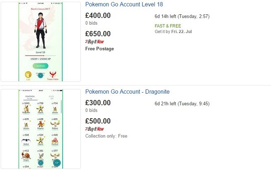 account ebay pokemon go