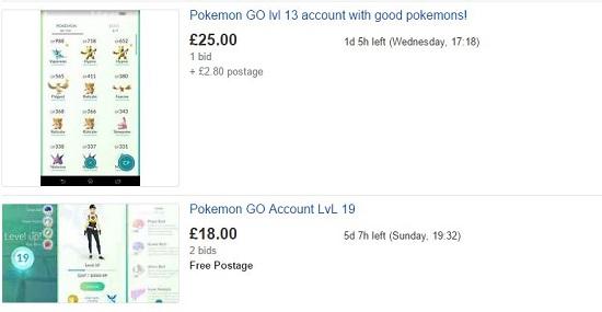 annunci vendita account pokemon go