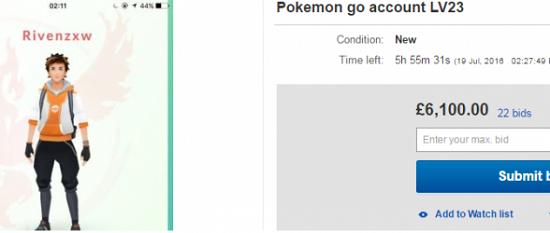 vendita account pokemon go