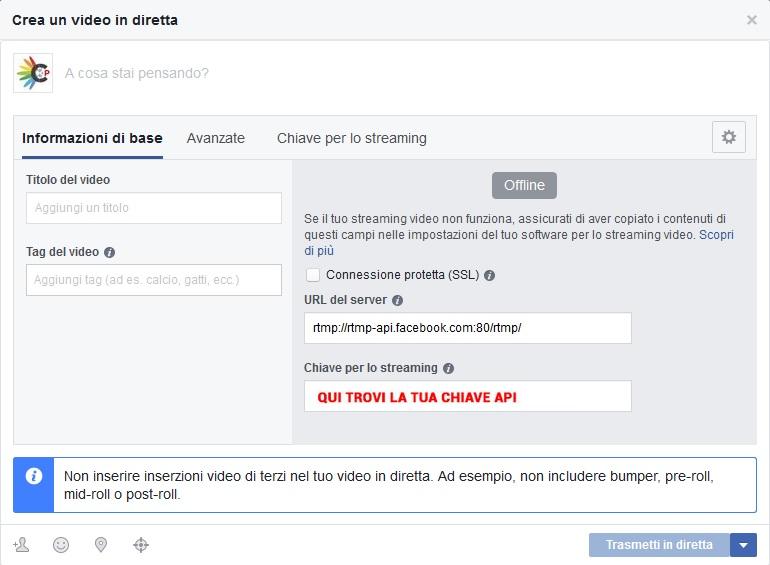 chiave api diretta facebook