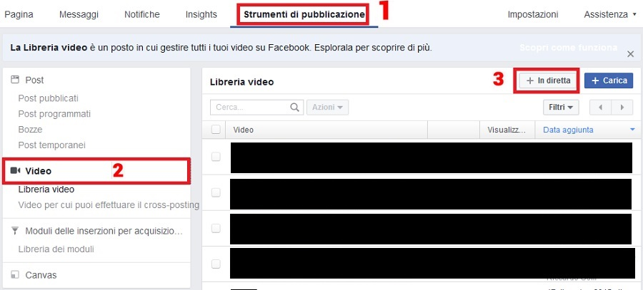 creare video live facebook