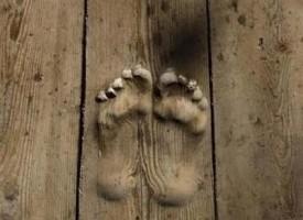 Buddista prega per vent'anni nello stesso punto e lascia il solco dei piedi sul legno