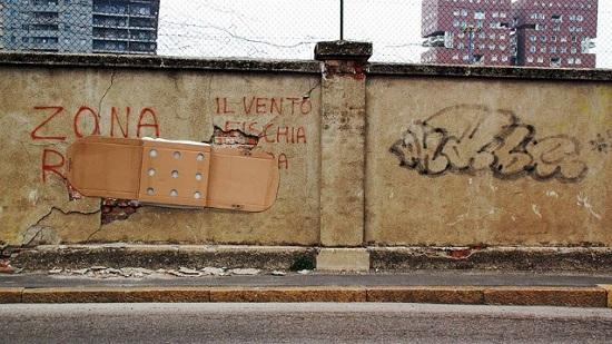 street art fra biancoshock cartone