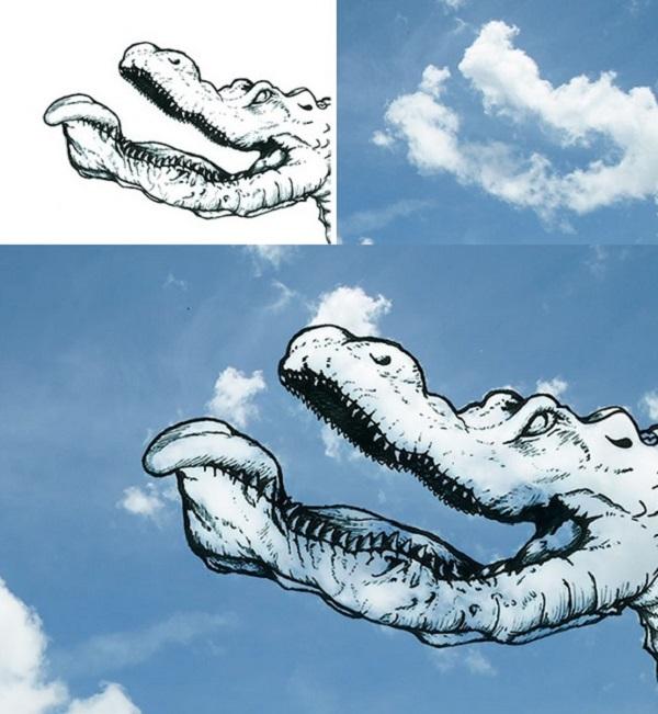 coccodrillo disegnato con nuvole
