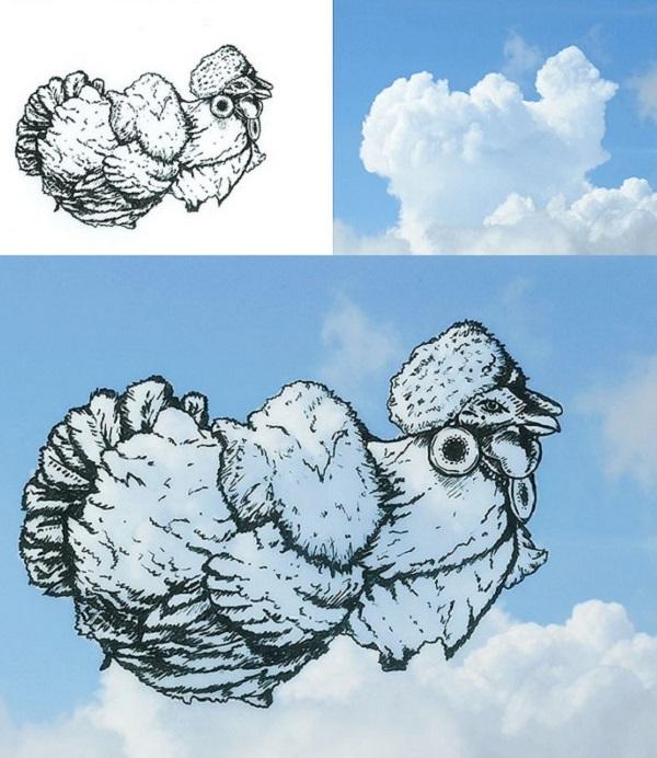 gallo disegnato sulle nuvole