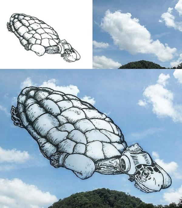 tartaruga disegnata nuvole