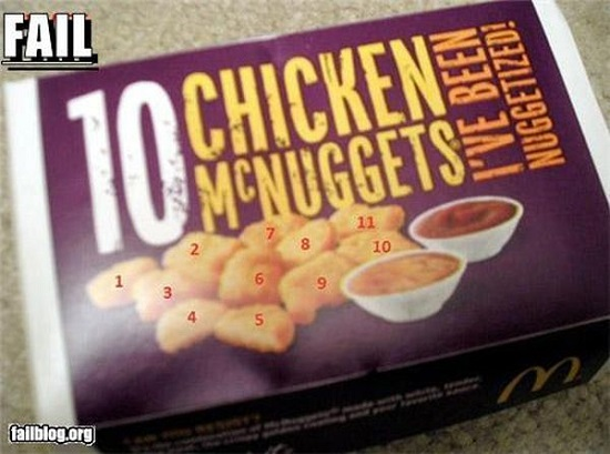 chicken mc nuggets fail packaging