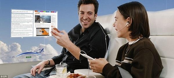 aereo con schermi oled a bordo