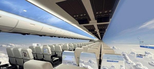 aereo trasparente senza finestrini