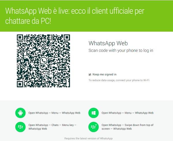 whatsapp per chattare da web
