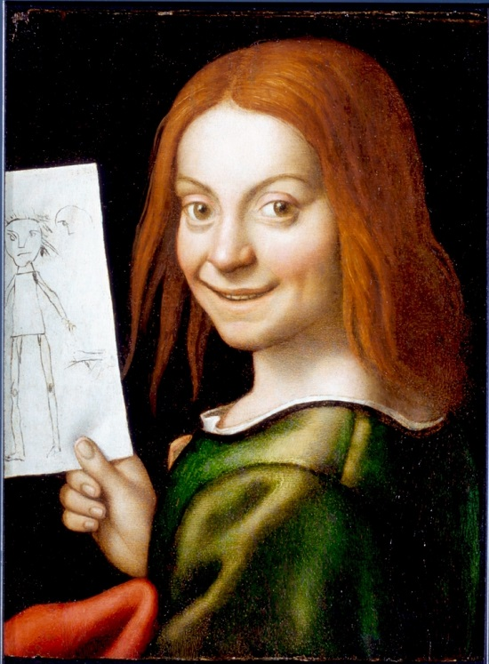 tavola Giovanni Francesco Caroto Ritratto di giovane con disegno infantile