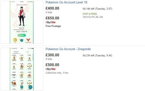 account ebay pokemon go