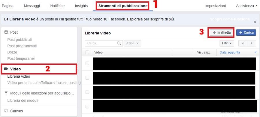 creare video live facebook
